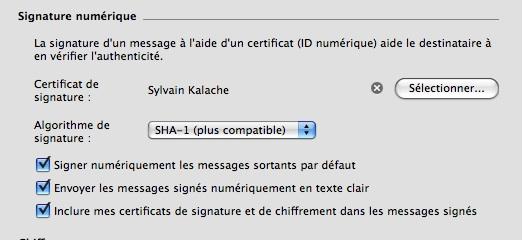 configuration entourage certificat
